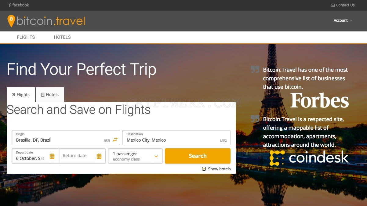 book flights with bitcoin