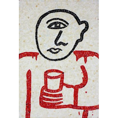 one eyed figure with cup - (Size 100 cm x 65 cm)